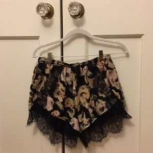 floral lacy shorts